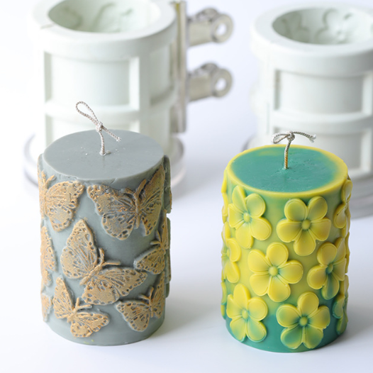 Z602 Butterfly style egg flower pattern cylinder relief Candle Mold