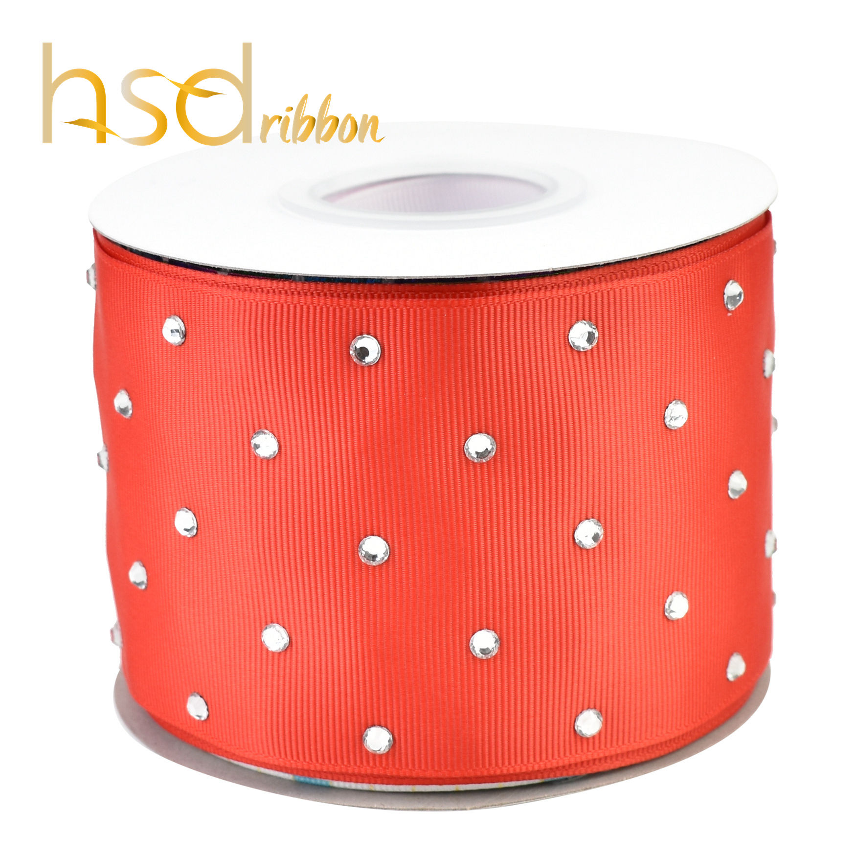 HSDRibbon Solid Red Grosgrain Ribbon with Rhinestones