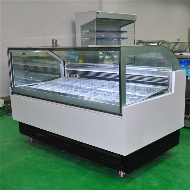 Customized Capacity ice cream display showcase with round pans or gelato pans