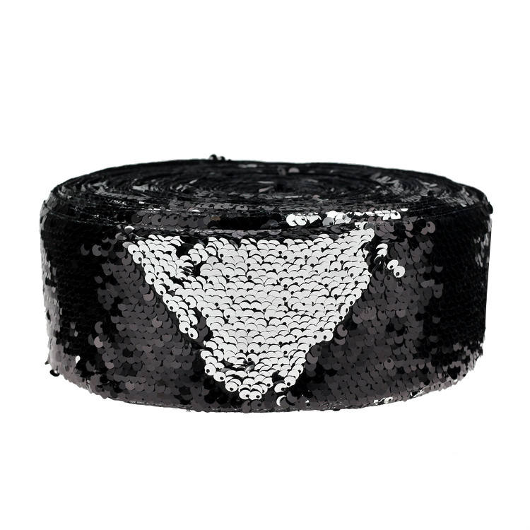 3inch 75mm black Sequin Reversible Glitter Silver sequin fabric Ribbon for girl bow