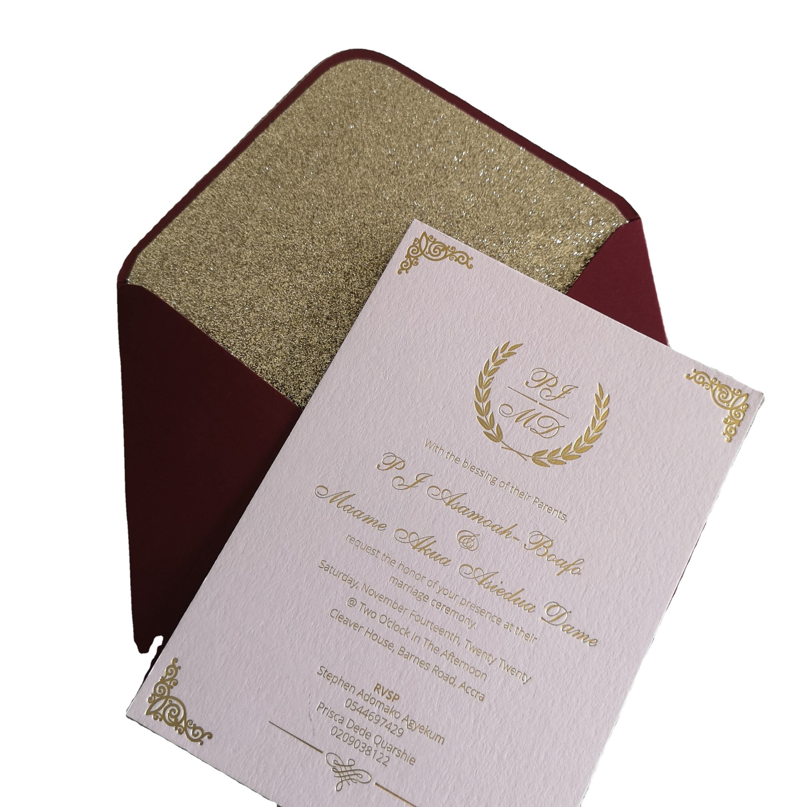 Gold foil bronzing Save the Date Card Wedding Invitation