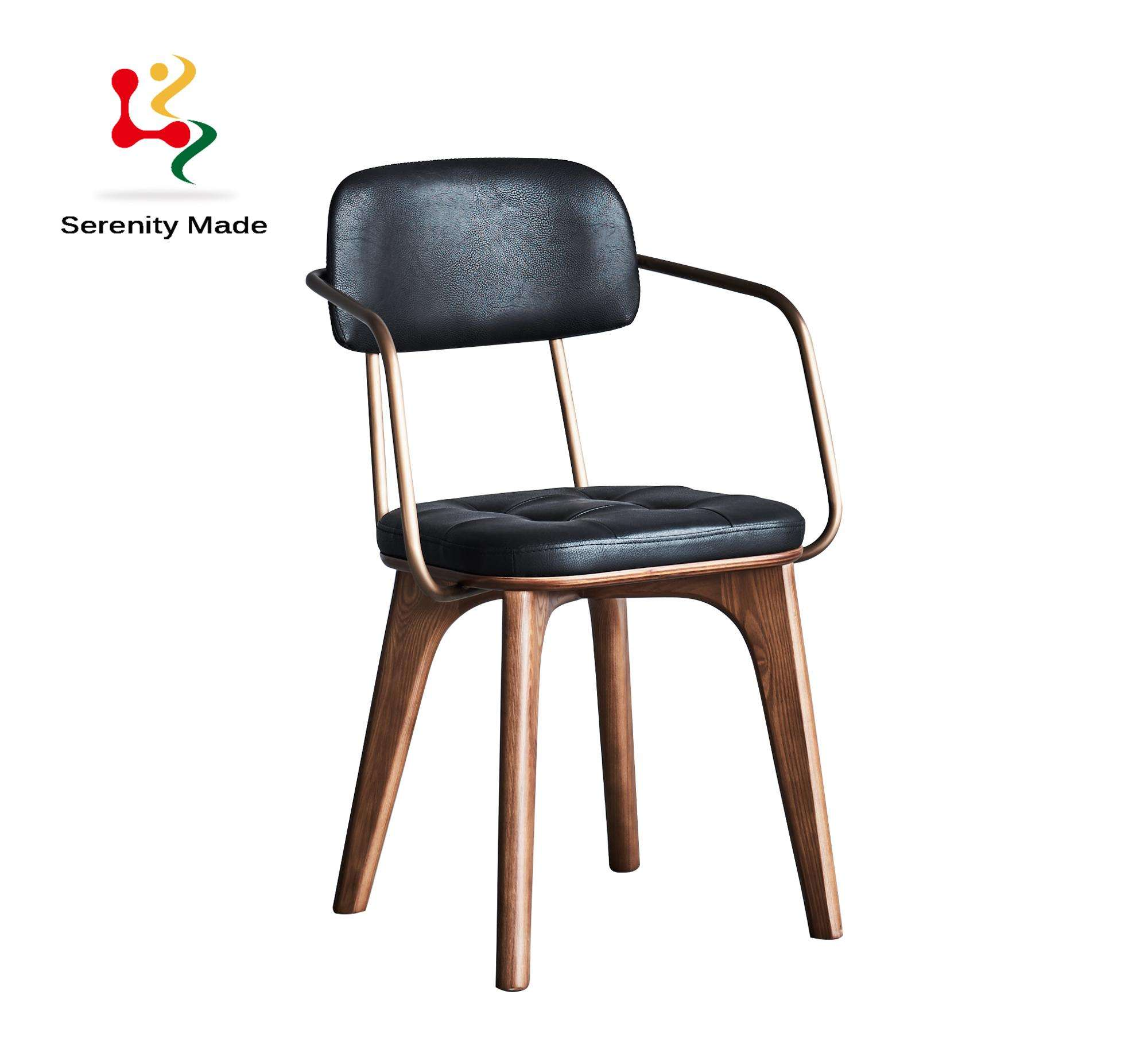 contemporary style black stained wooden dining chairs for restaurant