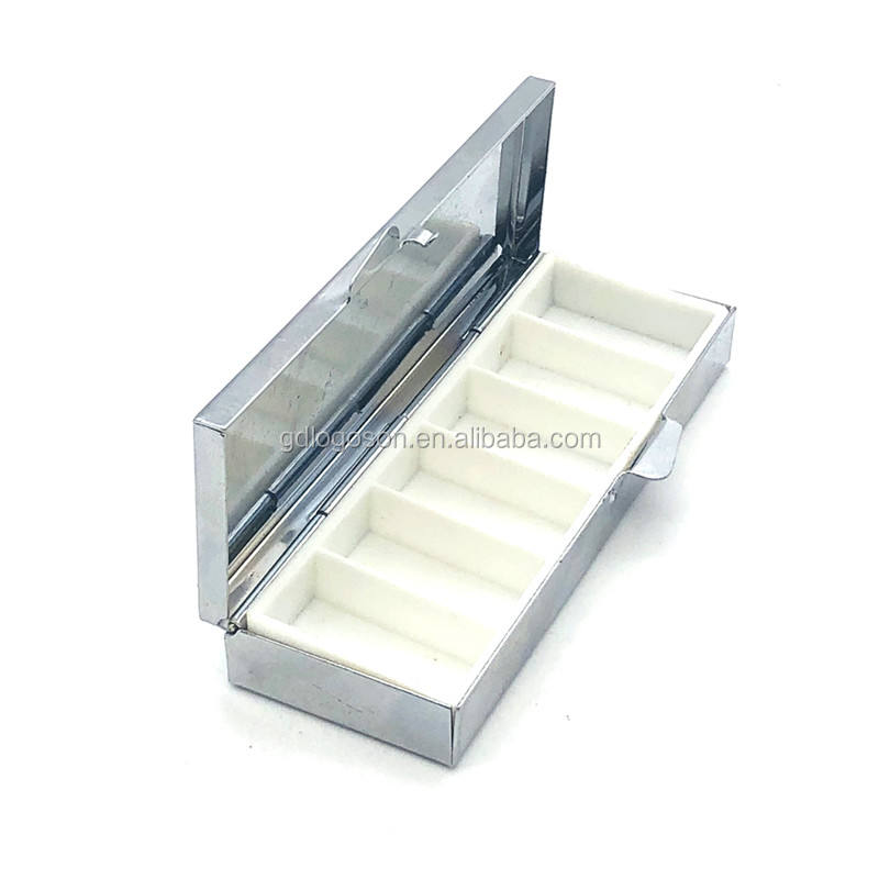 Travel gifts 6 / 7 days pill container rectangle shape pill boxes with compartments Metal daily pill box with mirror