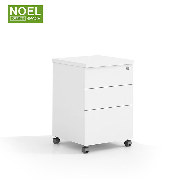 High quality office 3 box drawers white mobile pedestal file cabinet with wheels