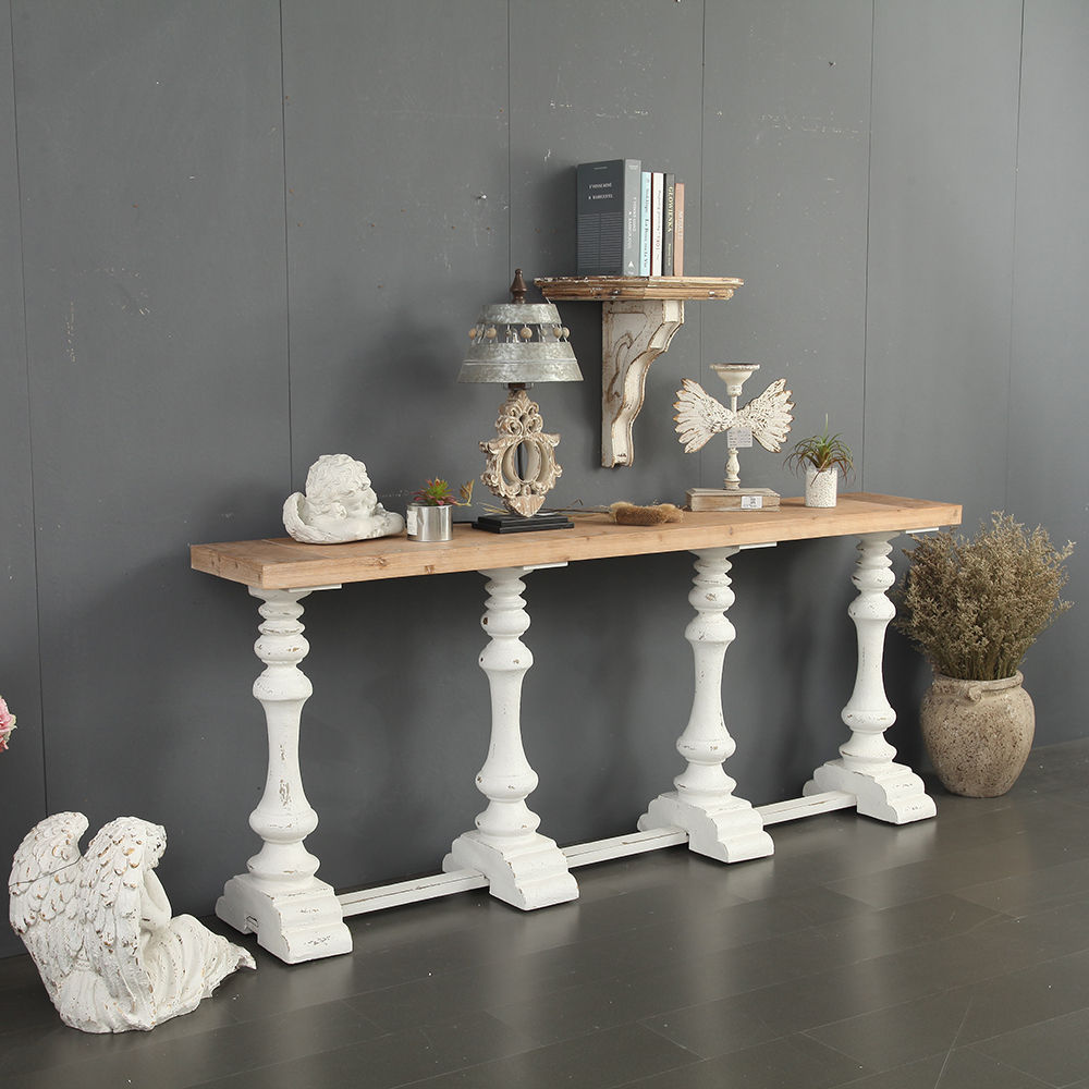 Home garden design corridor wooden console table white leg porch table