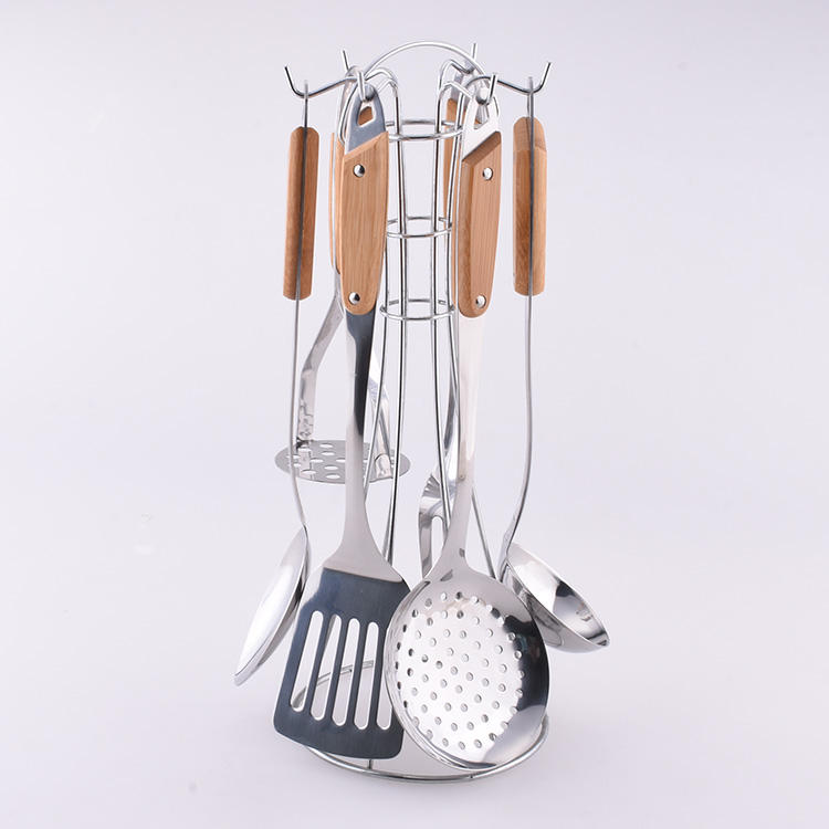 New Boreal Europe Style Eco-friendly Bamboo Handle 6pcs Stainless Steel Kitchen Cooking Utensil Set With Holder