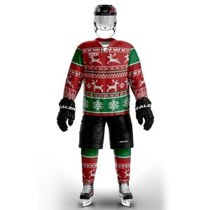 EALER Custom Sublimated ugly Christmas Hockey Jerseys With Your logo