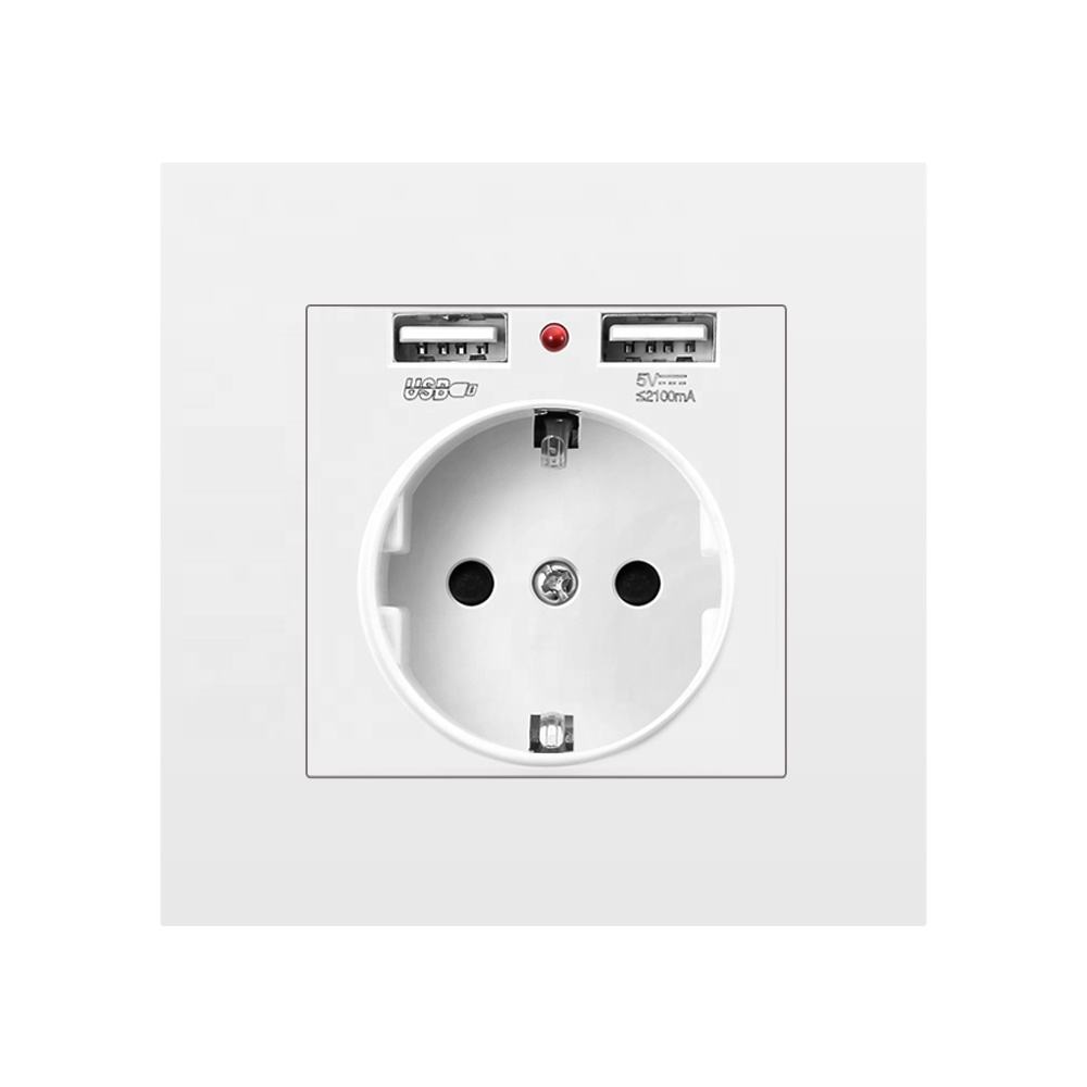 SRAN Eu standard German USB 16 amp plastic wall socket