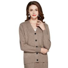 2020 New Autumn Winter 100%Cashmere V-Neck Casual Sweater Cardigan For Women