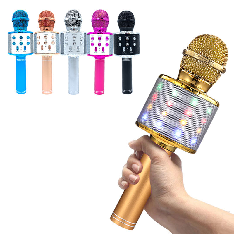 Bonus offer new wireless blue outdoor wireless microphone for portable karaoke tooth microphone sing along microphone