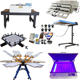 Manual DIY Full set 6 color 6 station t-shirt silk screen printing machine kit all stuff including