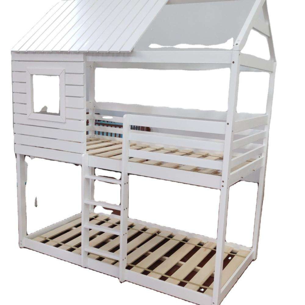 NO.1316-H Hot Selling Solid Pine Wood Playhouse Bed With Roof