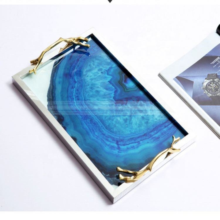 Modern table decoration handle tray gold iron blue agate glass servuing tray