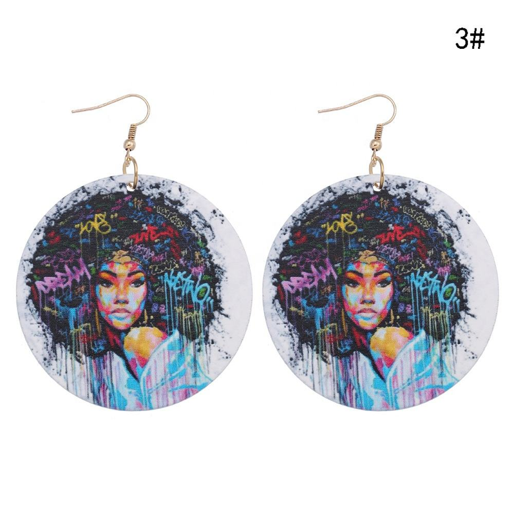 Ethnic Wooden Round Fashion Woman Jewelry Pendant Earrings For Mandala Painted African Drop Earrings Gifts