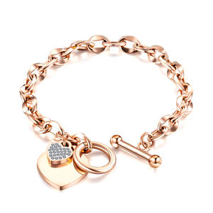 High Quality 3 Colors Rose Gold Plating Stainless Steel Crystal Heart Charm OT Closure Women Bracelets