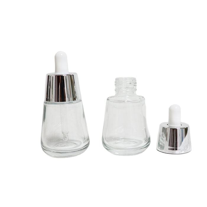 Luxury lotion essential oil 30ml colorful serum glass dropper bottle with aluminum press pipette dropper Cosmetic packaging