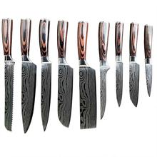 Super sharp chef knife kitchen knives with sandalwood handle, damascus steel chef's knife set