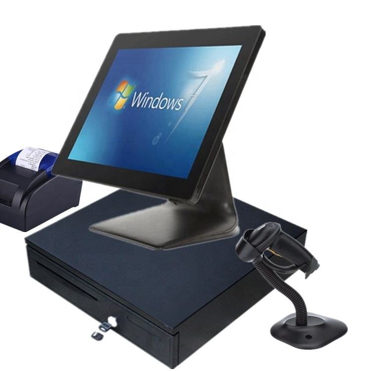 LKS-POS980F 15inch all in one windows flat panel Industrial LCD capacitive touch screen pos machine