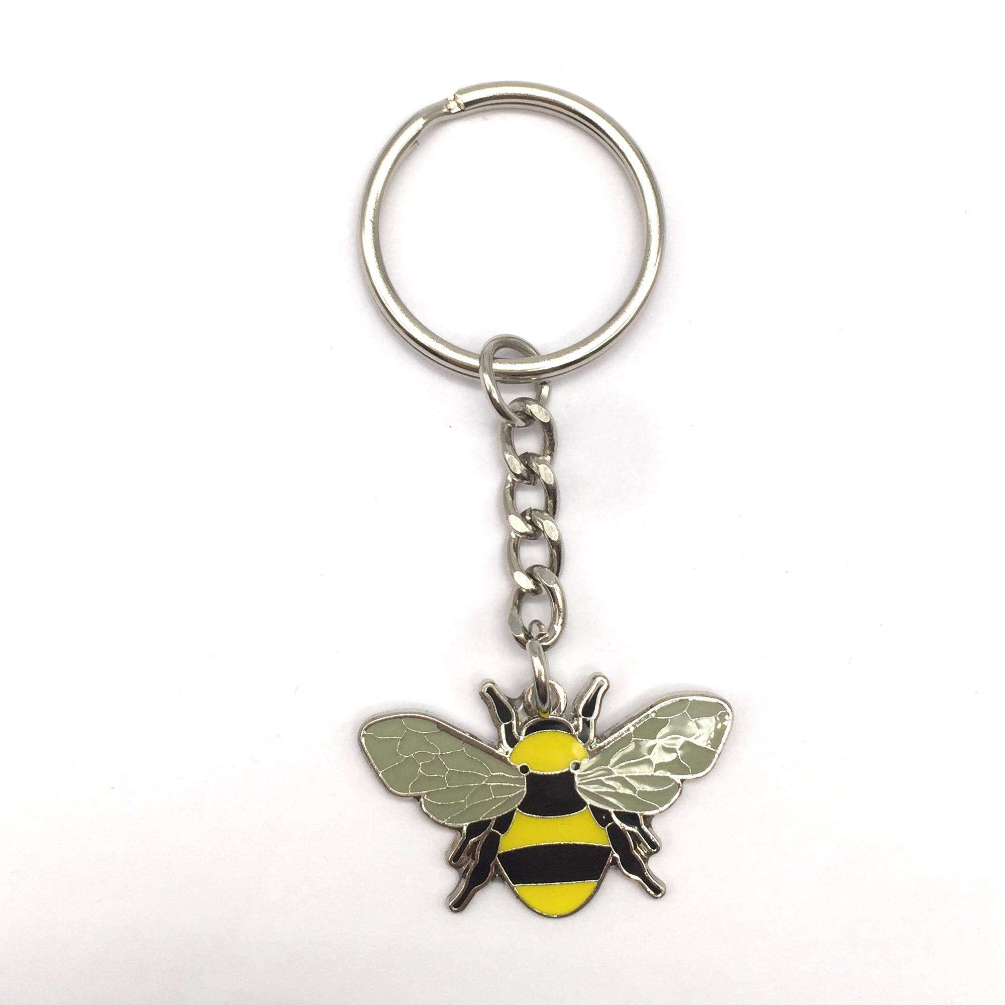 Bee shape personalized custom logo metal keychain honey bee keychain for promotion