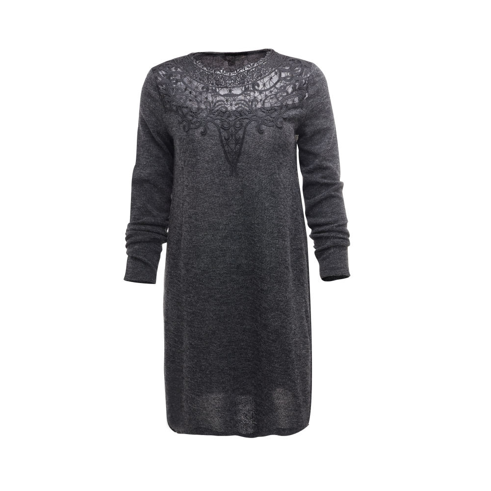 Women Long Sleeve Black Formal Loose Dress Embellished Flower