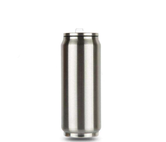 17oz Cola can double wall vacuum insulated stainless steel tumbler cup with flip-up straw food grade cola can tin can travel mug