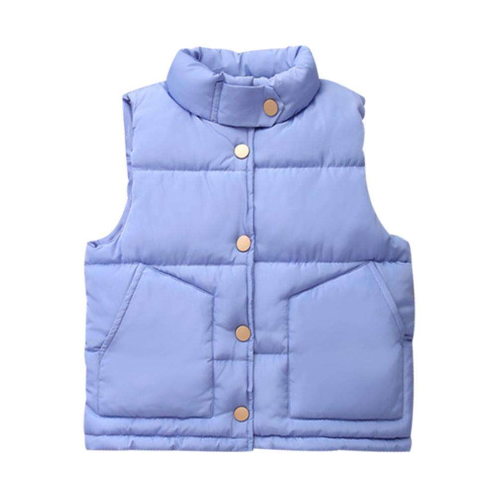 Mudkingdom Warm Causal Solid Color Stand Collar Padded Coat For Boys Kids Winter Vest