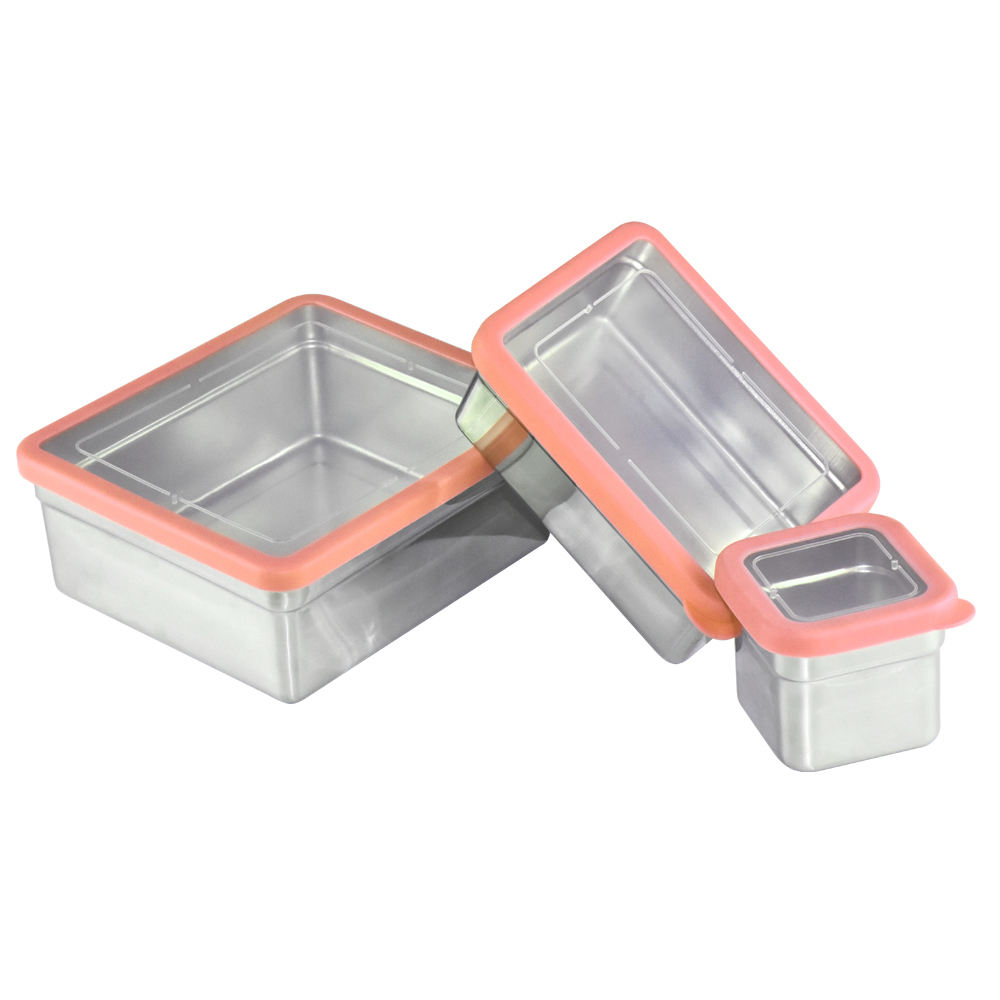 Wholesale custom eco friendly storage set metal food container lunchbox bento stainless steel lunch box