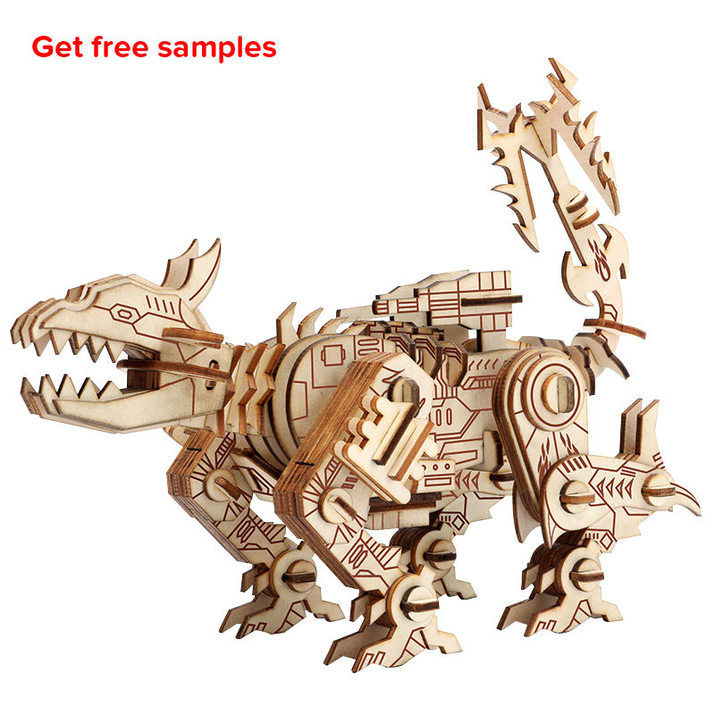 Amazon Hot Selling Parent-child Educational Model Building Adult Wooden Toys Robot Dog 3D Wooden Puzzle Games for Kids 8+