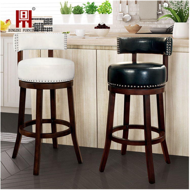 Bar Chair 2019 Modern Design Factory Price Swivel Seat Wooden Chair Leather Bar Stool