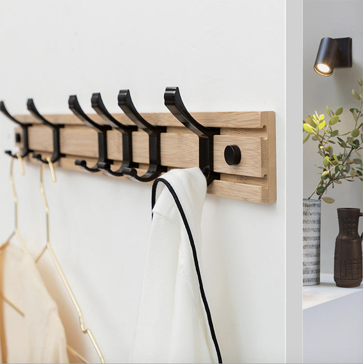 Wooden Coat Rack Clothes Hanger Hooks Living Room Wall Rack