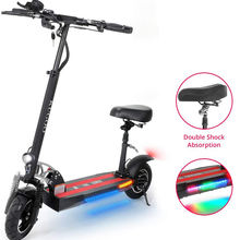 EU Free Duty 43km/h 45km Long Range 3 Speed Modes Dual Disc Brake 500W Motor Folding Adult Electric Offroad E Scooters with Seat