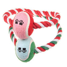 Cotton Interactive Chew Bite For Pet Tennis Ball On Rope Dog Toy Playing