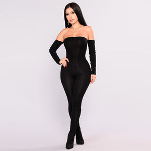Hot Selling Women Off Shoulder Jumpsuit Mid Waist Solid Color Long Sleeve Pants Sexy Bodycon Party Women Autumn Winter Rompers