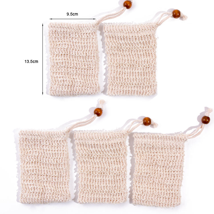 5pcs Wholesale Exfoliating Bamboo Cotton Jute Foam Sisal Soap Bag