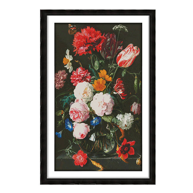 Red flowers cross stitch kit package plant sets embroidery DIY handmade need