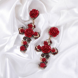HOVANCI New Design Women Jewelry Rose Flower Cross Dangle Earrings Stylish Gold Plated Crystal Cross Rose Flower Drop Earrings