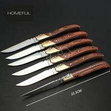Stocked feature premium 6 pcs stainless steel steak knife set with pakka wood and brass bolster handle