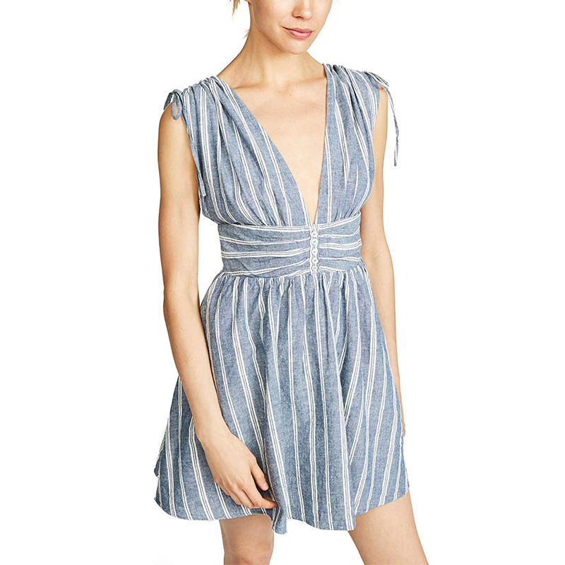 Women's Button Placket Deep V neck Sleeveless Mini Striped sexy Dress casual apparel
