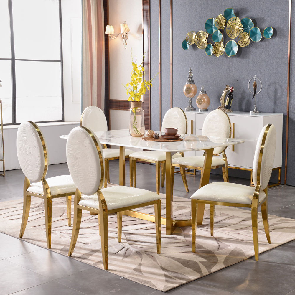 gold luxury hotel infinity banquet chivalry furniture stainless steel dining table set 8 chairs for wedding