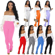 2020 summer women middle waist split stretch wool knit micro flared long pencil pants