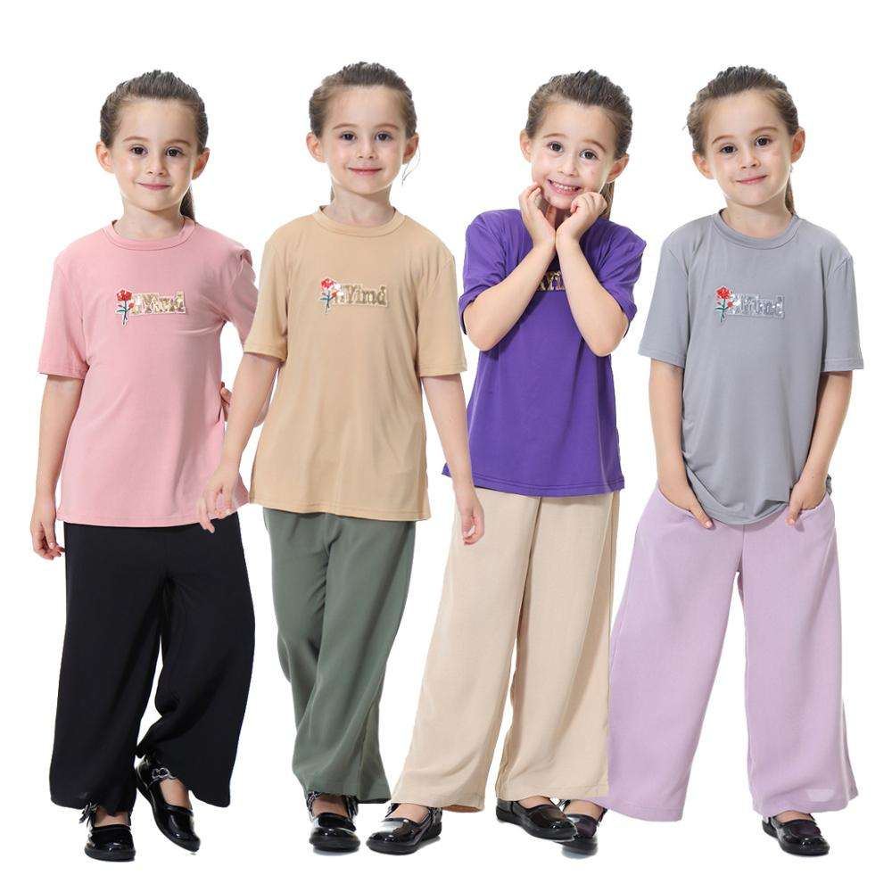 Fashion Casual Cheap Islamic clothing T-shirt And Loose Pants Suit Girls Muslim Dresses