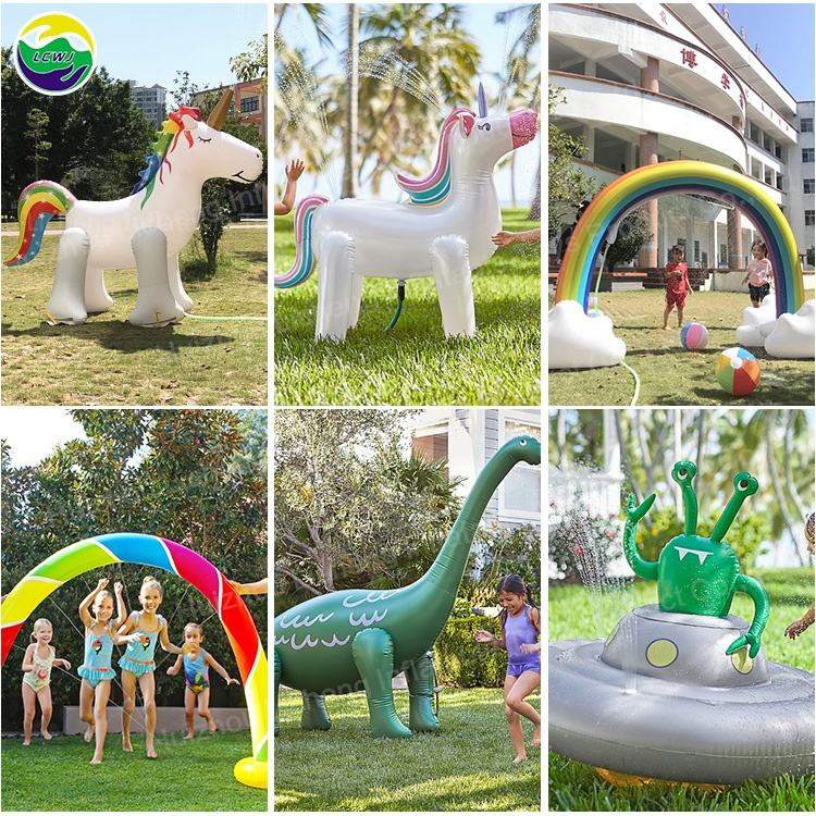 LC Giant Inflatable Watermelon Cactus Octopus Unicorn Rainbow Cloudy UFO Dragon Sprinkler Beach Ball