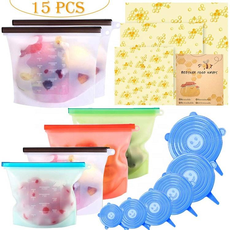 1500ml Reusable Eco-Friendly Silicone PVC Leakproof Ziplock Bag Food Silicone Freezer Liquid Storage Bag