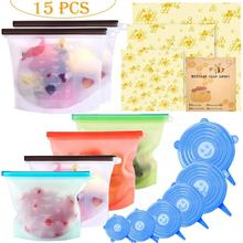 Reusable Eco-Friendly Silicone PVC Leakproof Ziplock Bag wax paper Food Storage Bag