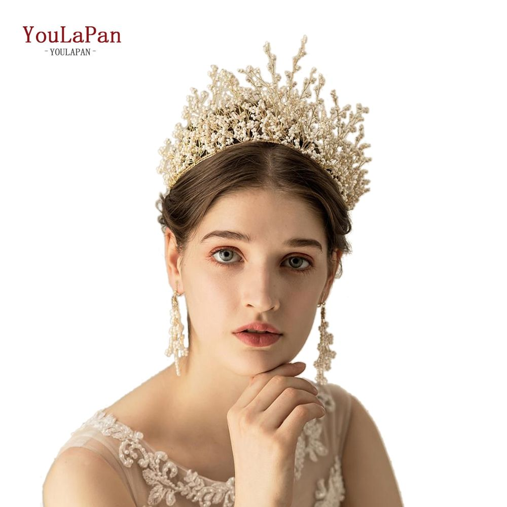 YouLaPan HP193-white beads Fashion White Beads Wedding Hair Accessories,Handmade Crowns Tiara for Bride