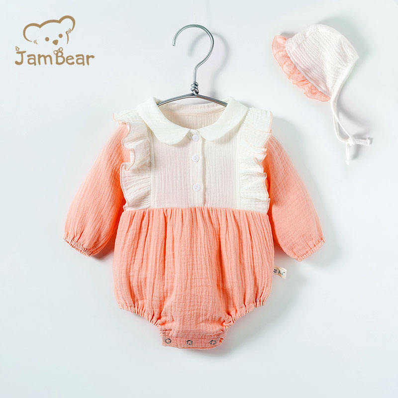JamBear 100% Organic Cotton Infant Clothes Comfortable Long Sleeve Baby Dresses Clothes Newborn Baby Knotted Gown Baby Skirts