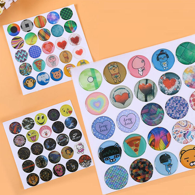 Custom Logo Printing Glossy DIY Decorative Self-Adhesive 1 inch Dome 3D Epoxy Resin Sticker