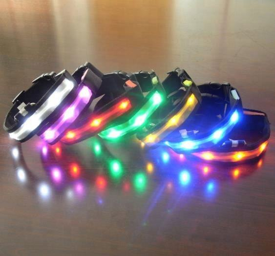 Custom logo nylon rechargeable led dog collar