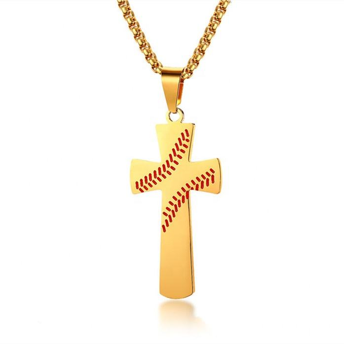 I CAN DO ANYTHING custom engraving inspirational jewelry 18k gold men baseball cross necklace