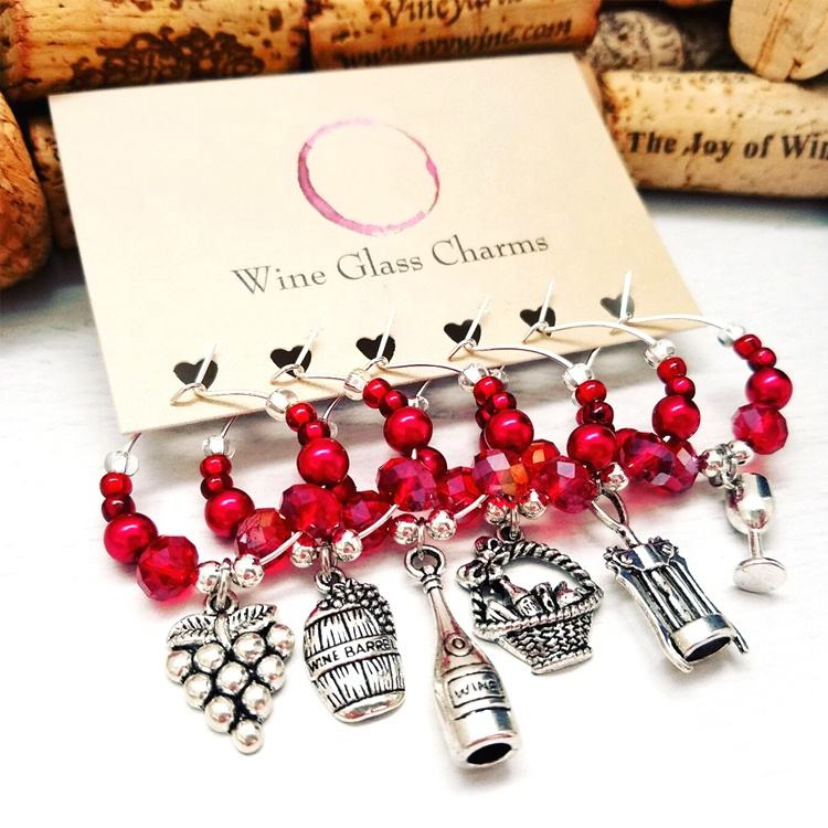 New product vintage antique silver metal plating wineglass decorative beaded wine glass charms